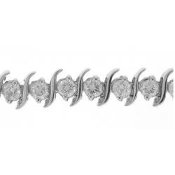 18Kt White Gold Diamond Wave Design Bracelet (3.83cts tw)
