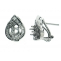 18Kt White Gold Tear Drop Earrings Mounting for Quarter carat Center with Baguette & Round Diamonds (0.72cts tw)