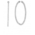 14Kt White Gold In & Out Diamond Hoop Earrings 2inches (4.79cts tw)
