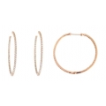 14Kt Rose Gold Inside & Out Diamond Hoop Earrings with Screw Back (1.60cts tw)