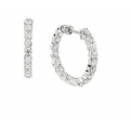 14Kt White Gold  In & Out Diamond Hoop Earrings 3/4 inches  (2.07cts tw)