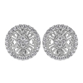 14Kt White Gold Round Diamond Stud Earrings with Milgrain (0.40cts tw)