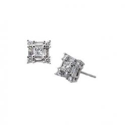 14Kt White Gold Baguette, Princess Cut & Round Diamond Square Shape Stud Earrings (0.67cts tw)