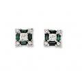 14Kt White Gold Baguette Emerald, Princess Cut & Round Diamond Square Shape Stud Earrings (0.64cts tw)