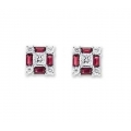 14Kt White Gold Baguette Ruby, Princess Cut & Round Diamond Square Shape Stud Earrings (0.88cts tw)