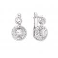 14Kt White Gold Bezel Set Double Circle Diamond Earrings (0.90cts tw)