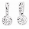 14Kt White Gold Diamond Huggies Earrings with Round Diamond Drop (0.55cts tw)