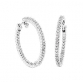 14Kt White Gold 1.5carat Inside & Out Diamond Hoop Earrings
