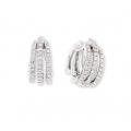 14Kt White Gold Three Row Diamond Split Huggies Earrings (0.50cts tw)