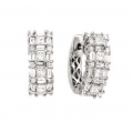 14Kt White Gold Baguette, Princess Cut & Round Diamond Huggies Earrings (1.75cts tw)