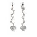 14Kt White Gold Diamond Heart & Leaf Drop Earrings (0.40cts tw)