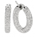 14Kt White Gold Three Row Pavé Diamond Inside & Out Hoop Earrings (1.19cts tw)
