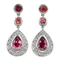 14Kt White Gold Pink Tourmaline & Diamond Drop Earrings (1.29cts tw)