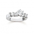 14Kt White Gold Alternating Baguette & Princess Cut Diamond Engagement Ring (0.66cts tw)