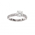 14Kt White Gold Alternating Baguette & Round Engagement Ring with Milgrain (0.20cts tw)