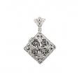 14Kt White Gold Square Shape Diamond Locket with Enhancer Bail (0.35cts tw)