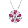 14Kt White Gold Pear Shape Ruby & Diamond Round Necklace (1.55cts tw)