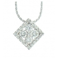 14Kt White Gold Square Shape Diamond Necklace (0.51cts tw)