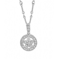 14Kt White Gold Diamond Flower In Circle Necklace (0.50cts tw)