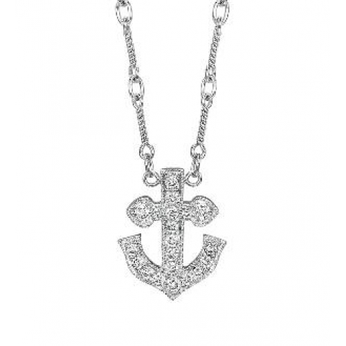 14kt white gold diamond anchor necklace 027cts tw aloadofball Choice Image
