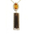 14Kt White Gold Diamond, Citrine & Smokey Quartz Geometric Necklace (4.70cts tw)