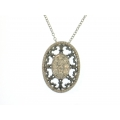 14Kt Two-tone Fancy Oval Shape Diamond Necklace (1.06cts tw )