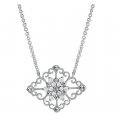 14Kt White Gold Antique Style Diamond Necklace (0.32cts tw)