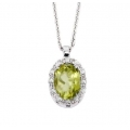 14Kt White Gold Oval Shape Peridot with Halo Diamond Necklace (0.86cts tw)