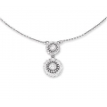 14Kt White Gold Double Flower Diamond Necklace (0.35cts tw)