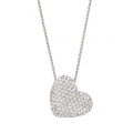 14Kt White Gold Slanted Pavé Diamond  Heart Necklace (1.60cts tw)