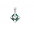 14Kt White Gold Baguette Emerald, Princess Cut & Round Diamond  Square  Shape Pendant with Bail (0.32cts tw)