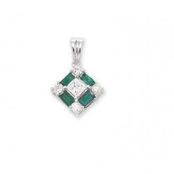 14Kt White Gold Baguette Emerald, Princess Cut & Round Diamond  Square  Shape Pendant with Bail (0.32cts tw)