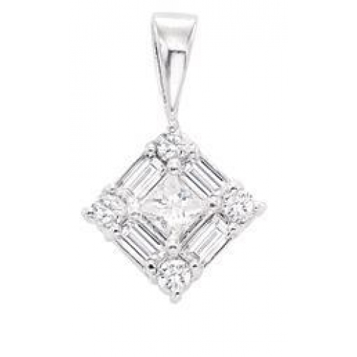 cut gold products pendent white solitaire double mirabess diamond princess pendant bail in