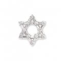 14Kt White Gold Baguette & Round Diamond Star Of  David Pendant (0.70cts tw)