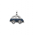 14Kt White Gold Diamond & Blue Sapphire Car Enhancer Charm Pendant (0.46cts tw)