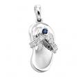 14Kt White Gold Diamond & Blue Sapphire Sandal Charm Pendant (0.10cts tw)