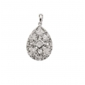14Kt White Gold Princess Cut & Round Diamond Pear Shape Antique Style Pendant with Bail (0.30cts tw)