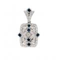 14Kt White Gold Princess Cut Blue Sapphire & Diamond Antique Style Pendant with Enhancer Bail (0.72cts tw)