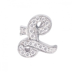 "14Kt White Gold Diamond Initial ""L"" Pendant (0.08cts tw)"