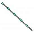 14Kt White Gold Diamond Bar & Oval Shape Emerald Bracelet (4.94cts tw)
