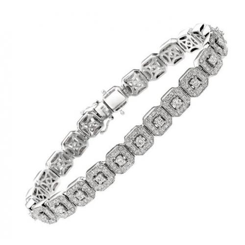 14Kt White Gold Princess Cut & Round Diamond Bracelet with
