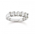 14Kt White Gold Alternating Baguette & Princess Cut Diamond Wedding Band (0.90cts tw)