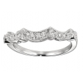 14Kt White Gold Diamond Wedding Band with Milgrain (0.20cts tw)