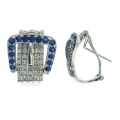 18Kt White Gold Belt Buckle Blue Sapphire & Diamond Earrings with Omega Clip (2.29cts tw)