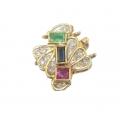 14Kt Yellow Gold Diamond, Ruby, Blue Sapphire & Emerald Clasp