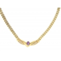 14Kt Yellow Gold Baby Panther Diamond & Amethyst Necklace (1.58cts tw)