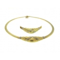 14Kt Yellow Gold Omega with Diamond Necklace (0.48cts tw)