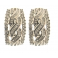 18Kt White Gold Interlaced Baguette & Round Diamond Earrings with Omega Clip (1.58cts tw)