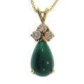 14Kt Yellow Gold Pear shape Emerald with Three Diamonds Necklace (4.31cts tw)