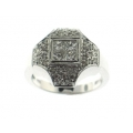 18Kt White Gold Invisible Set Princess Cut & Round Diamond Ring (0.76cts tw)